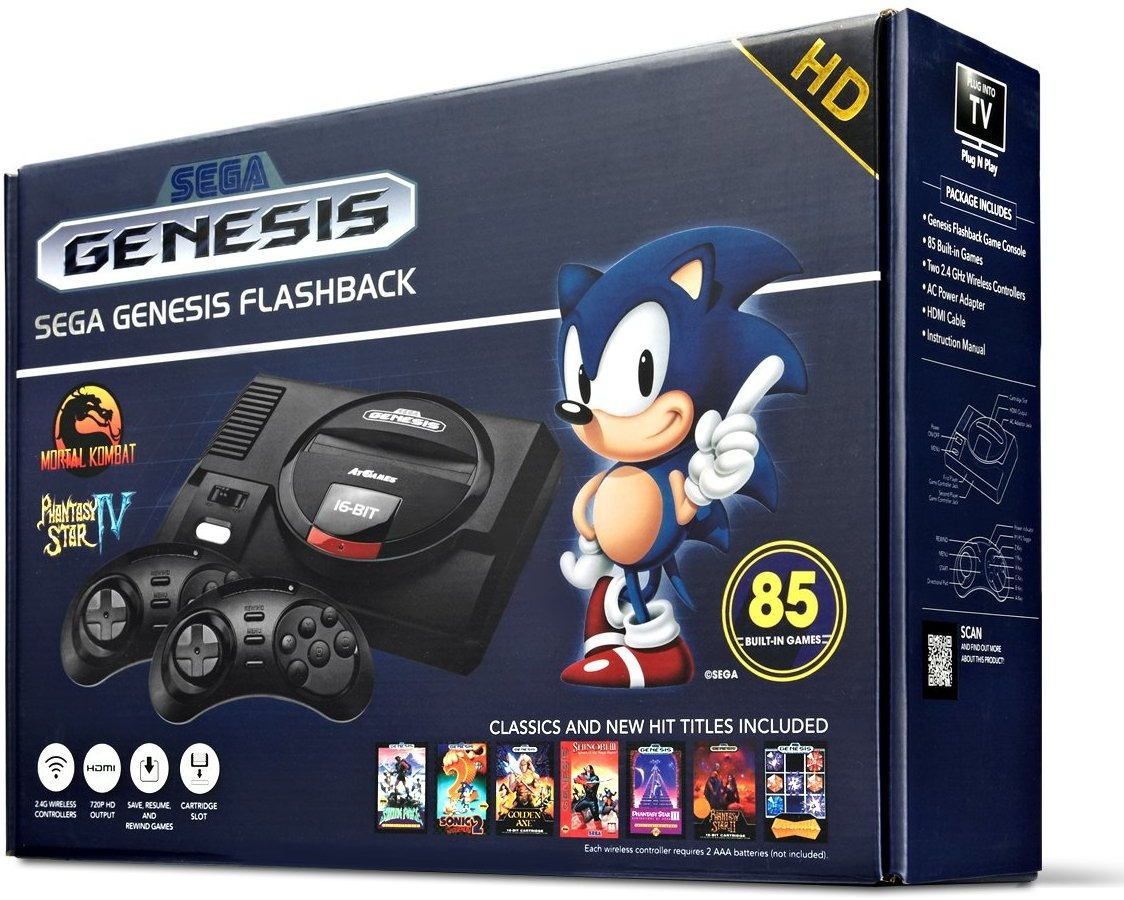Sega genesis flashback console com 85 jogos 2018 mega - Atgames sega genesis classic game console game list ...