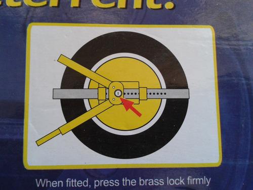 seguro cepo inmovilizar ruedas, lancha, carro, trailer.