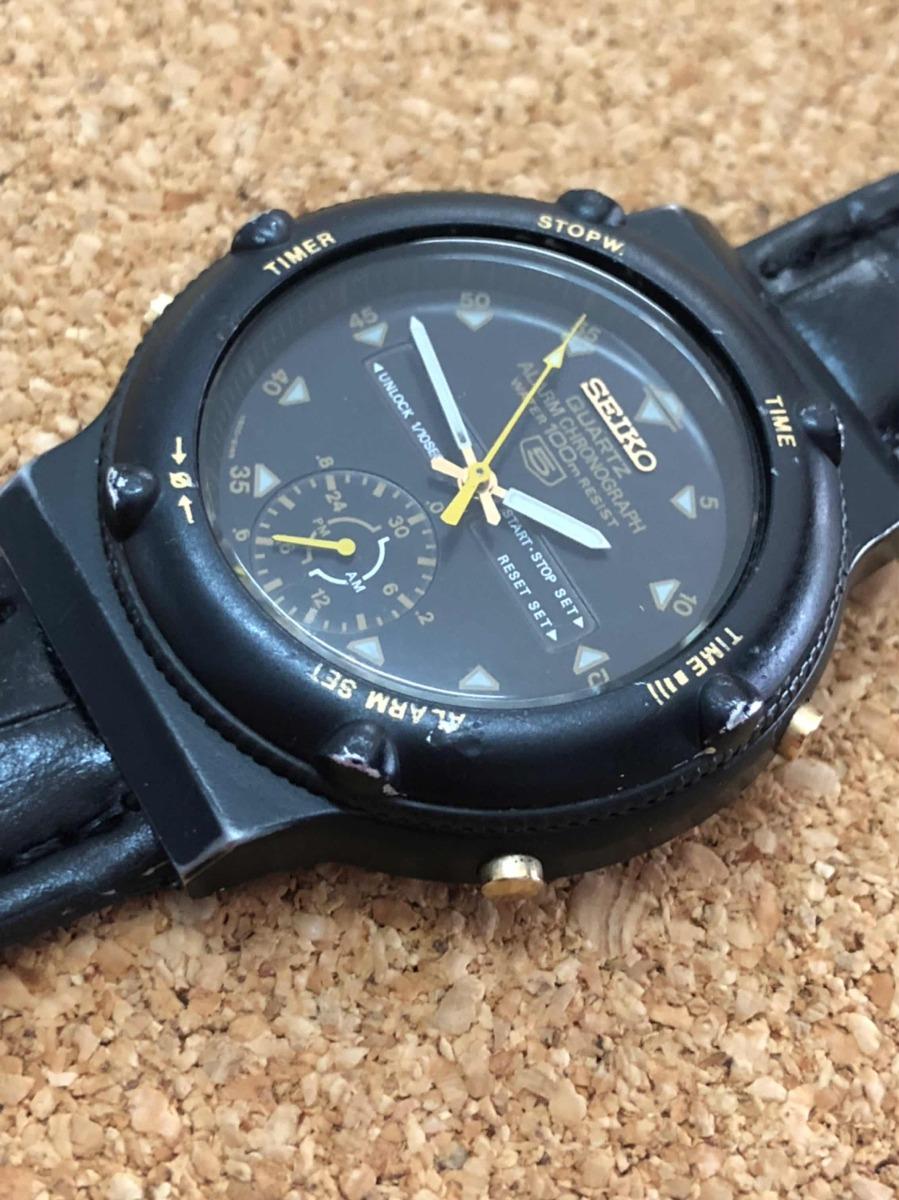 d310aa9ae83 Seiko 5 Cronografo Alarm Raro Pvd - R  300