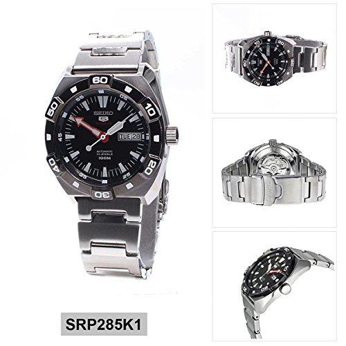 seiko 5 deportes automático negro dial reloj de acero inoxi
