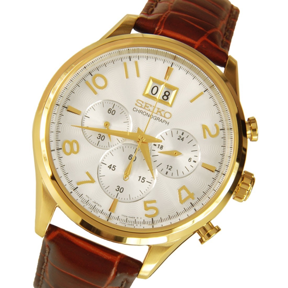 f8a95d9708b Relógio Seiko Spc088p1 Masculino Cronografo Couro Dourado - R  1.879 ...