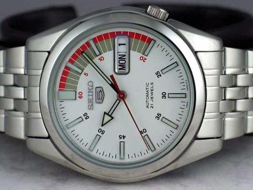 seiko racer 5 sports automático branco 37mm snk369k1 snk369
