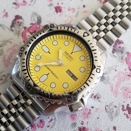 seiko scuba diver automático 7s26-7020 amarelo yy #860