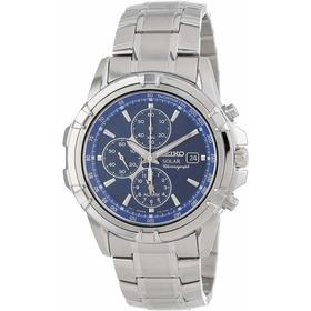 Seiko Ssc141 - Reloj Solar De Acero Inoxidable Con Esfera Az