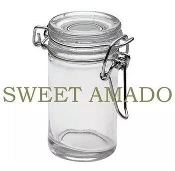 seis pote hermético tampa vidro 75ml condimento sweet amado