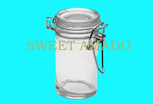 .seis potes hermético com tampa de vidro 75ml - sweet amado