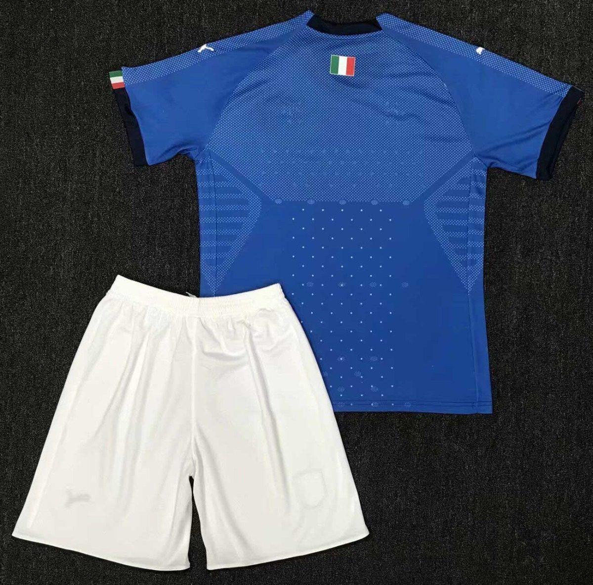 8fab4b8cea Uniforme Infantil Camisa E Shorts Criança Seleção Itália - R  149