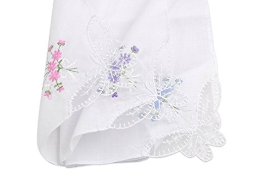 selected hanky ??ladieswomens cotton pañuelos flor bordada c