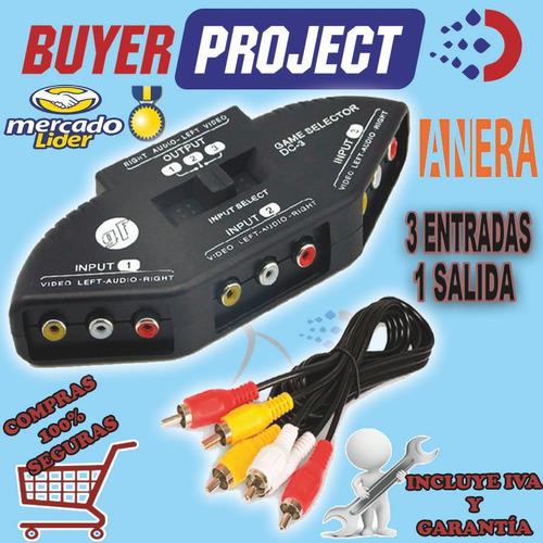 selector de audio video 3x1 3 entradas 1 salida conector rca