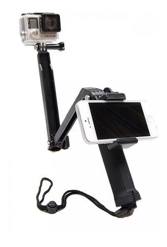 selfie stick monopod 3 way gopro + soporte celular universal