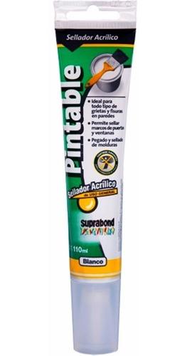 sellador adhesivo acrilico blanco pintable suprabond 110.ml - para pegar pinches anti posado de palomas aves bajo techo