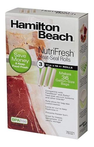 sellador de vacío hamilton beach, (paquete de 3) rollos de