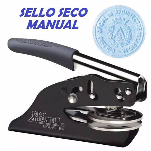 sello seco manual de pinza alto relieve con diseño