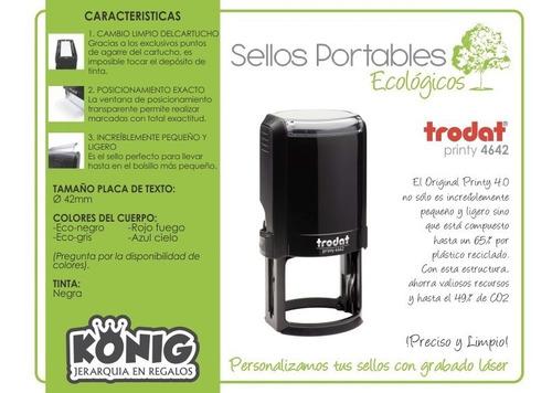 sello trodat printy automatico redondo tinta negra 42mm 4642