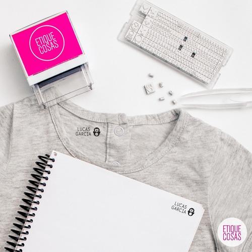 sello universal para ropa y papel. intercambia nombres