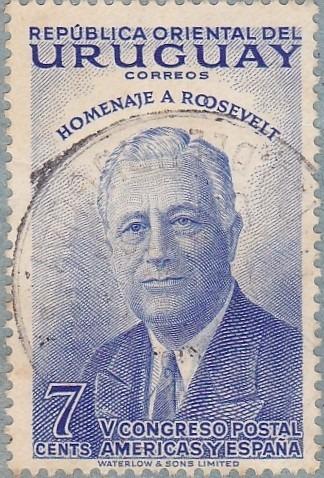 sello uruguayo 1954 homenaje a roosevelt