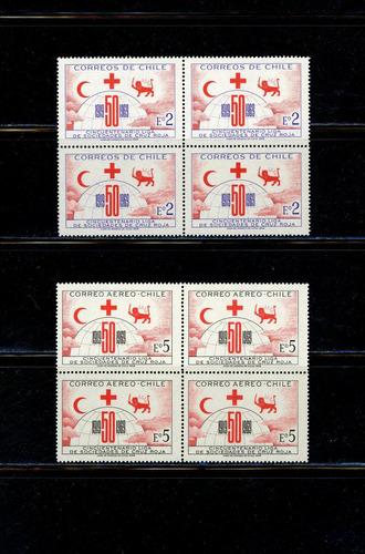 sellos de chile. 100 años liga de sociedades de cruz roja.