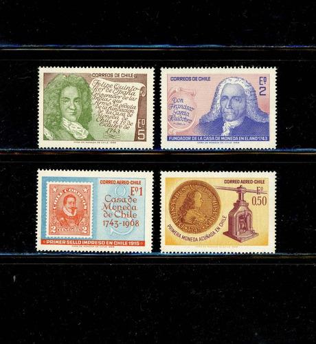 sellos de chile. 225º aniversario casa de moneda de chile.