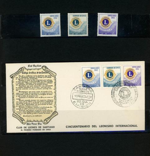 sellos de chile. 50 años del club de leones. 1917-1967.