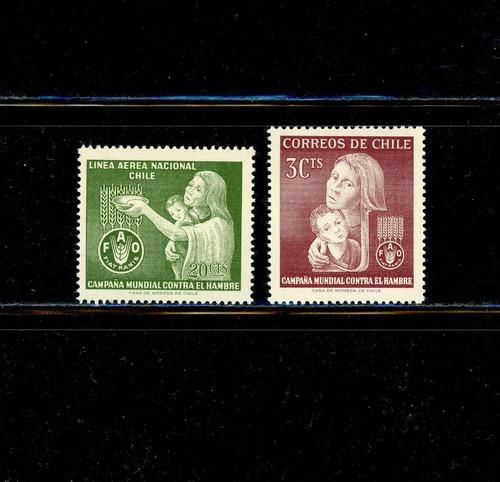 sellos de chile. campaña mundial contra el hambre. 1963.