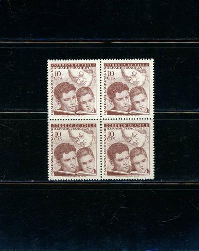 sellos de chile. campaña nacional de alfabetización. 1966.