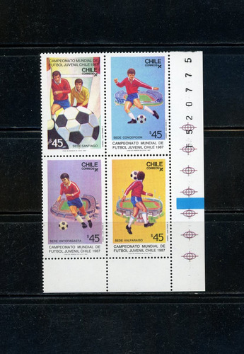 sellos de chile. campeon. mundial de fútbol juvenil 1987.