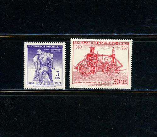 sellos de chile. cuerpo de bomberos de santiago. año 1963.