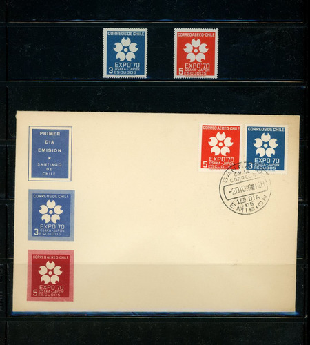 sellos de chile. expo '70, osaka, japón. serie de 2 sellos.