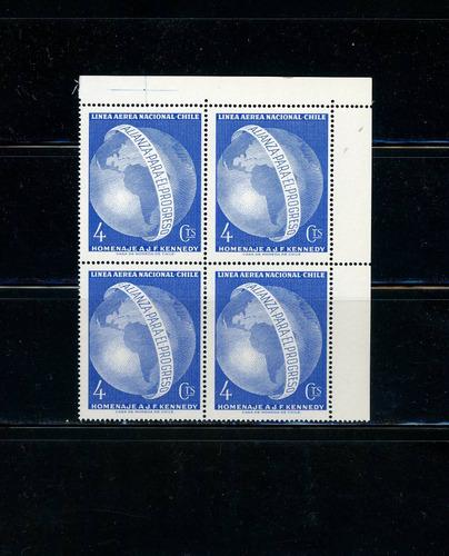 sellos de chile. homenaje a john f. kennedy. año 1964.