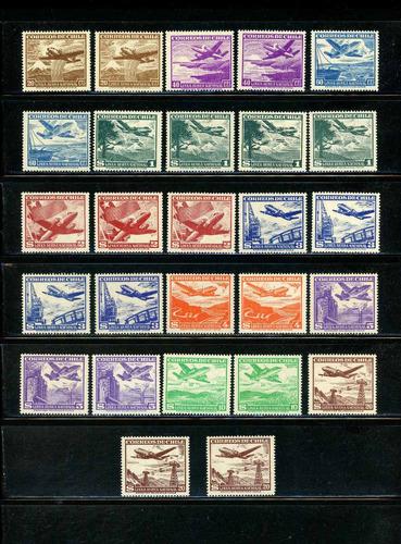 sellos de chile. línea aérea nacional, nuevos diseños c/fil.