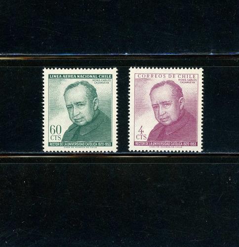 sellos de chile. mons. carlos casanueva, rector u. católica.