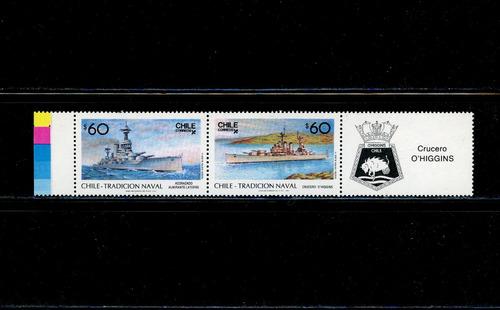 sellos de chile. tradición naval de chile. año 1987.