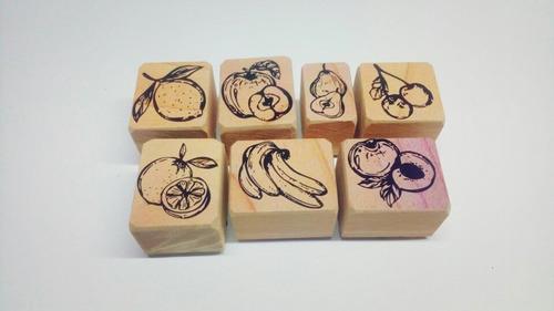 sellos de goma decorativos set frutas 1