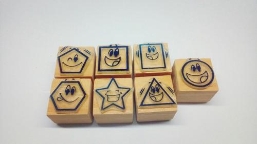 sellos de goma didácticos - figuras geométricas con caritas