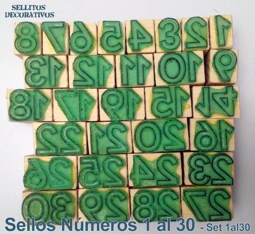 sellos de goma números del 1 al 30 8cm.