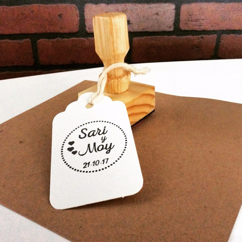 sellos de goma personalizados 5x5 cm base de madera