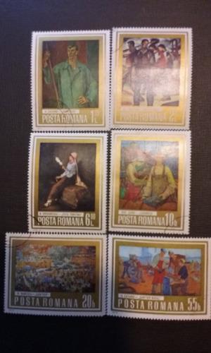 sellos  posta romana 1973 serie de pinturas