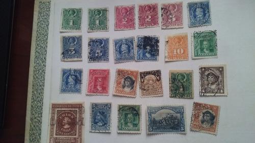 sellos postales chilenos antiguos - colon