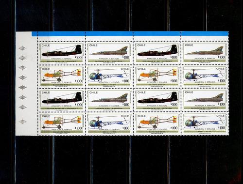 sellos postales de chile. aviación y espacio. año 1963.
