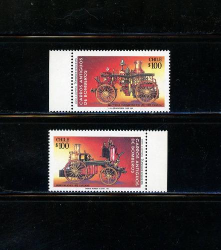 sellos postales de chile. carros antiguos de bomberos.