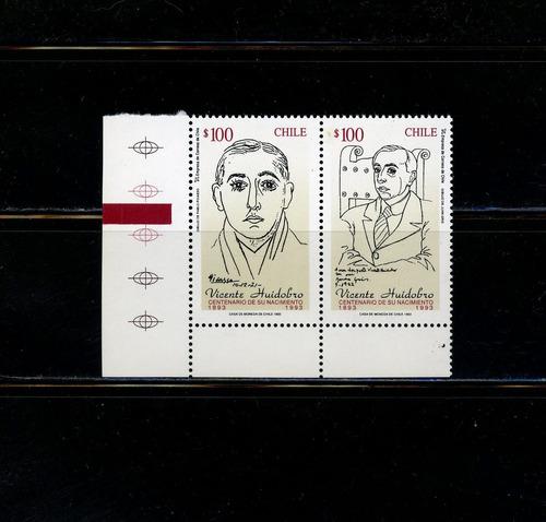 sellos postales de chile. cent. nacimiento vicente huidobro.