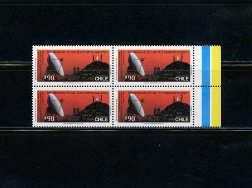 sellos postales de chile. día mundial telecomunicaciones.