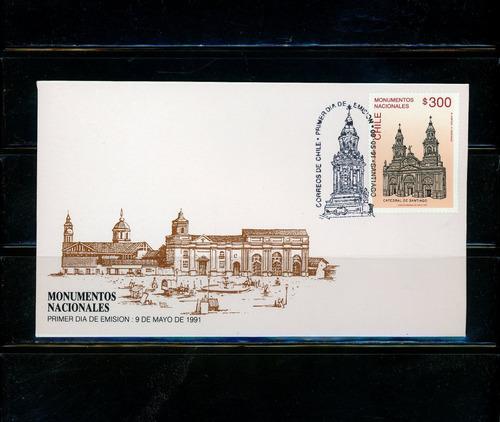 sellos postales de chile. mon. nacionales, catedral de stgo.