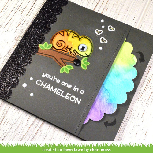 sellos + suajes lawn fawn scrapbook one in a chameleon