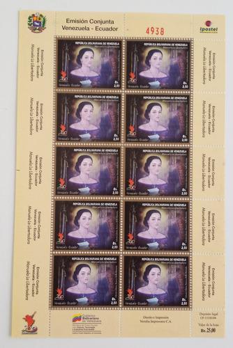 sellos venezuela hoja bloque manuela saenz 2010