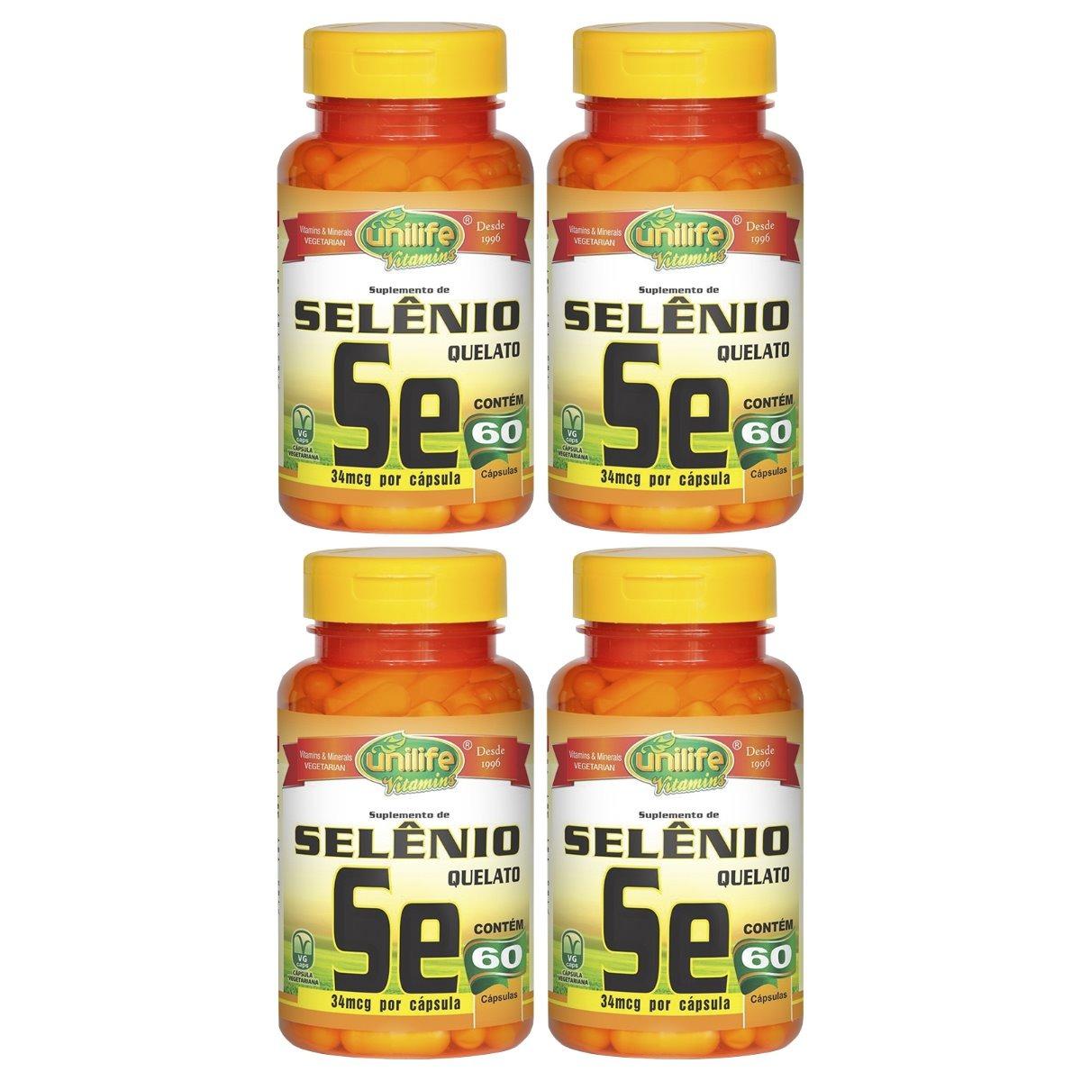 Selênio Quelato Se 60 Cápsulas 500mg Unilife Kit 4 Unidades