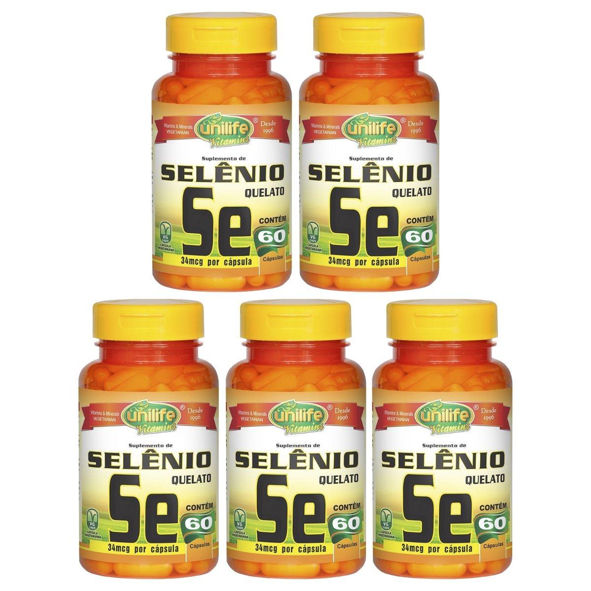 Selênio Quelato Se 60 Cápsulas 500mg Unilife Kit 5 Unidades
