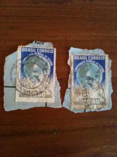 selo antigo mundial de 1950 brasil