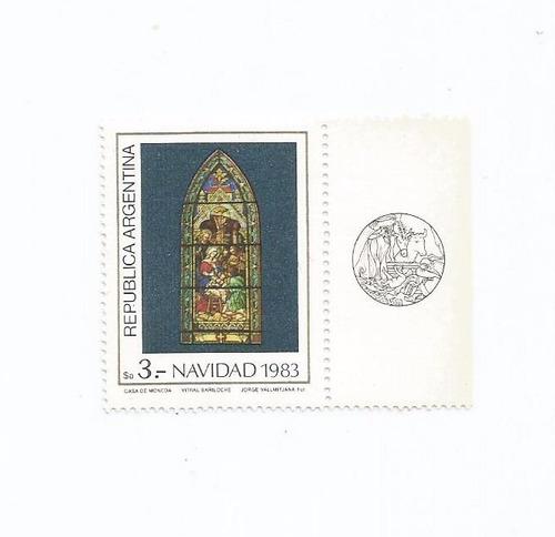 selo argentina,selo natal/vitrais bariloche 1983,novo.descr.