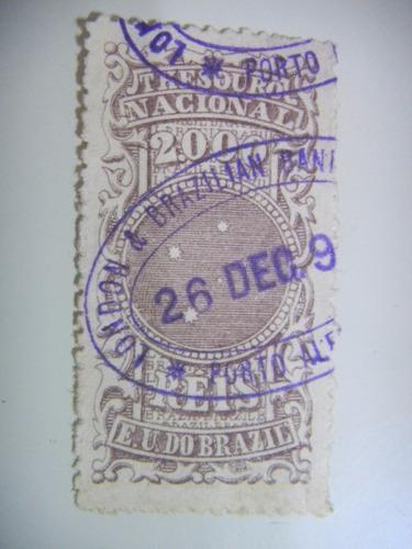 selo brasil - fiscal - 2000 rs - cruzeiro do sul - 1895